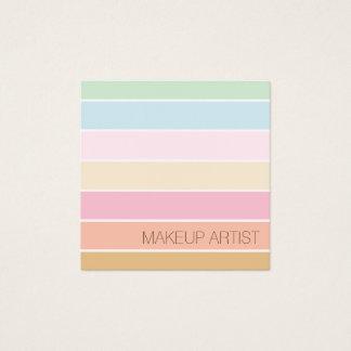 modern fine colour pastel palette makeup artist square business card