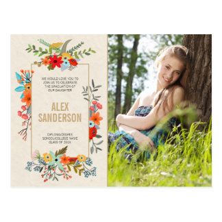 Modern Floral and Gold Graduation Invitation Photo Postcard