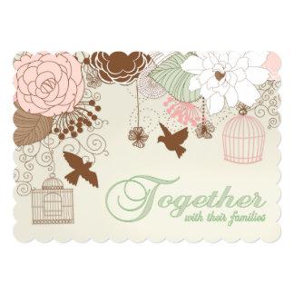 Modern Floral Birdcage Wedding Card