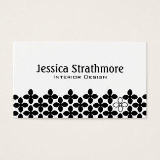 Modern Floral Black White Flower Pattern Business Card