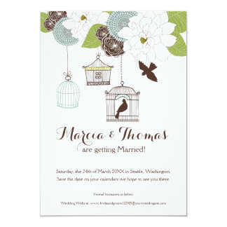 Modern Floral Design w Bird Cages n Love Birds Art Card