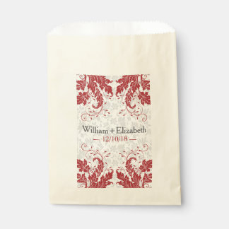 Modern Floral Event Favor Bags | Crimson Red Favour Bags