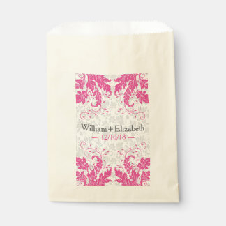 Modern Floral Event Favor Bags | Fuchsia Pink Favour Bags