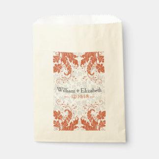 Modern Floral Event Favor Bags | Pumpkin Orange Favour Bags