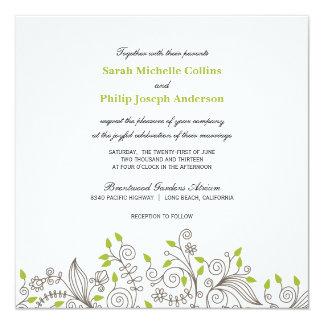 Modern Floral Fancy Swirls Wedding Invitations