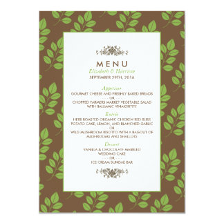 Modern Floral Greenery Leaf Wedding Menu 11 Cm X 16 Cm Invitation Card