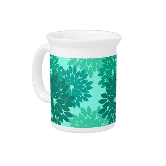 Modern Floral Kimono Print, Turquoise, Teal & Aqua Drink Pitchers