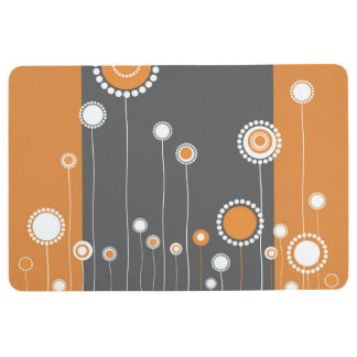 Modern Floral Pattern - Orange Floor Mat