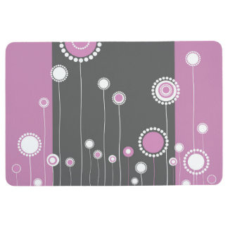 Modern Floral Pattern - Pink Floor Mat