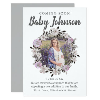 Modern Floral Photo Pregnancy Announcement