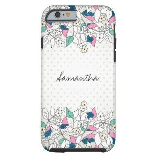 Modern Floral Polka Dots Tough iPhone 6 Case