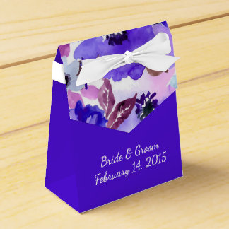 Modern Floral Purple Watercolor Wedding Favor Box Party Favour Box