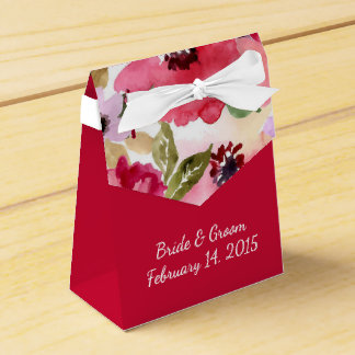 Modern Floral Red Watercolor Wedding Favor Box Wedding Favour Box
