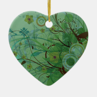 Modern Floral Sea Green Ceramic Heart Decoration