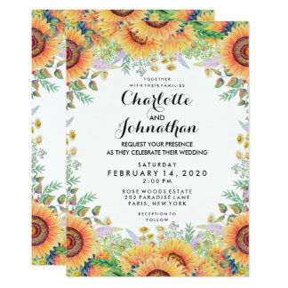 Modern Floral Sunflowers Watercolor Wedding Card