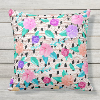 Modern floral watercolor rose gold aztec pattern outdoor cushion