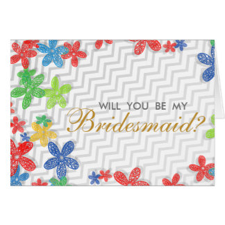 Modern Floral Will You Be My Bridesmaid Invitation