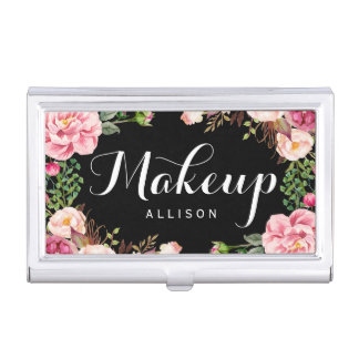 Modern Floral Wrapping Makeup Artist Calligraphy Business Card Holder