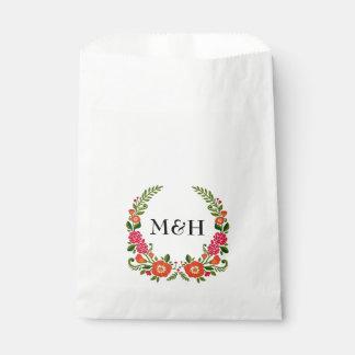 Modern Floral Wreath Wedding Favor Bag
