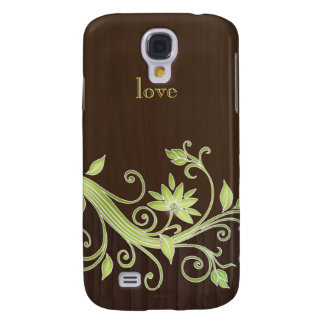Modern Flower Jewel iPhone Green Chocolate Brown Galaxy S4 Case