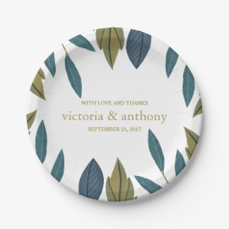 Modern Foliage Floral Wedding Paper Plate