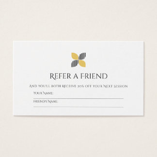 Modern Friend Referral Chic Black Gold Logo Business Card