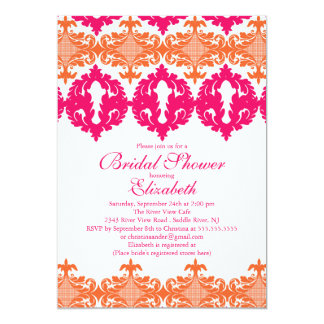 Modern Fuchsia & Orange Damask Bridal Shower 13 Cm X 18 Cm Invitation Card