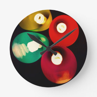 Modern Funky Colored Lights Round Clock