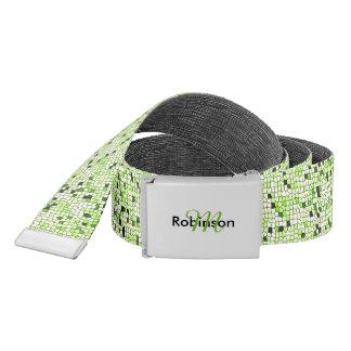 Modern Funky Green Mosaic Pattern Personalised Belt