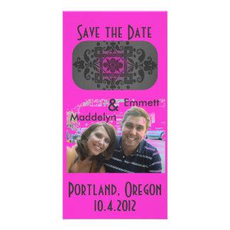 Modern Fuschia and Gray Save The Date Custom Photo Card