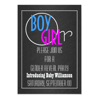 Modern gender reveal retro party card