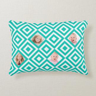 Modern Geometric 4 Photo Collage in Teal Decorative Cushion