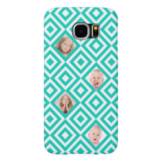 Modern Geometric 4 Photo Collage in Teal Samsung Galaxy S6 Cases