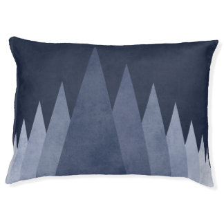 Modern geometric dog bed Dark blue triangles