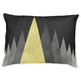 Modern geometric dog bed Gold and black