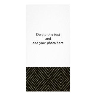 Modern Geometric Gold Squares Pattern on Black Col Photo Card
