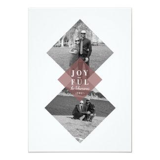 Modern Geometric Joyful Holiday Photo Card