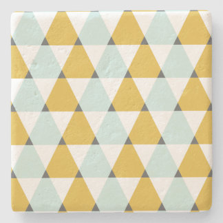 Modern Geometric Mint Yellow Triangles Pattern Stone Coaster