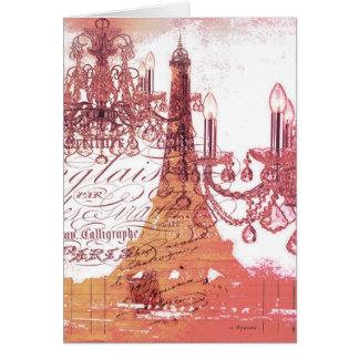 modern girly chandelier vintage paris eiffel tower greeting card