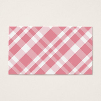 Modern girly pink plaid pattern simple navy blue business card