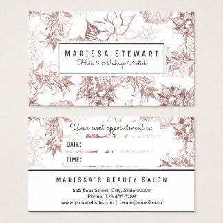 Modern Girly Rose Gold Floral Appointment Card