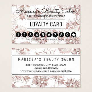 Modern Girly Rose Gold Floral Loyalty Punch Business Card