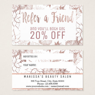 Modern Girly Rose Gold Floral Referral Card