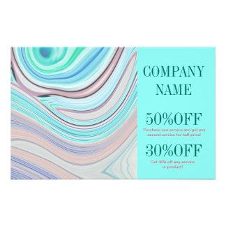 modern girly swirls fashion beauty coral turquoise 14 cm x 21.5 cm flyer
