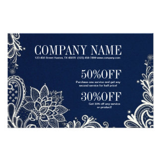 modern girly white lace navy blue swirls fashion 14 cm x 21.5 cm flyer
