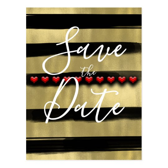 Modern Glam Black & Gold Red Hearts Save the Date Postcard