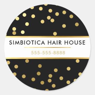 MODERN GLAM CONFETTI polka dot faux gold black Classic Round Sticker