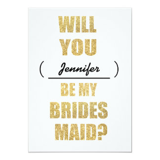 Modern Glitter Will You Be My Bridesmaid Invite