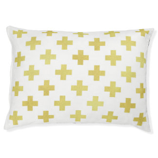 Modern gold and white dog bed Swiss cross pattern
