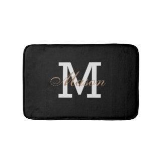 Modern Gold Black White Name Monogram Classic Chic Bath Mat